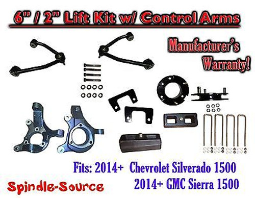 """2014+ Chevy Silverado GMC Sierra 1500 6"""" / 2"""" Spindle 2WD Lift KIT Control Arms"""