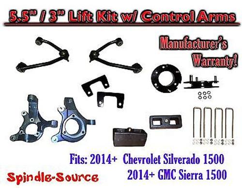 "2014+ Chevy Silverado GMC Sierra 1500 5.5"" / 3"" Spindle Lift KIT Control Arms"