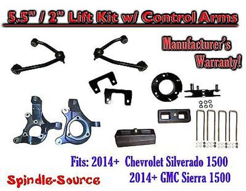 "2014+ Chevy Silverado GMC Sierra 1500 5.5"" / 2"" Spindle Lift KIT Control Arms"