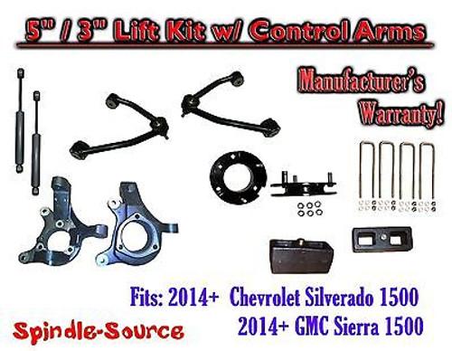 "2014+ Chevy Silverado GMC Sierra 1500 5"" / 3"" Spindle Lift Control Arms + SHOCKS"
