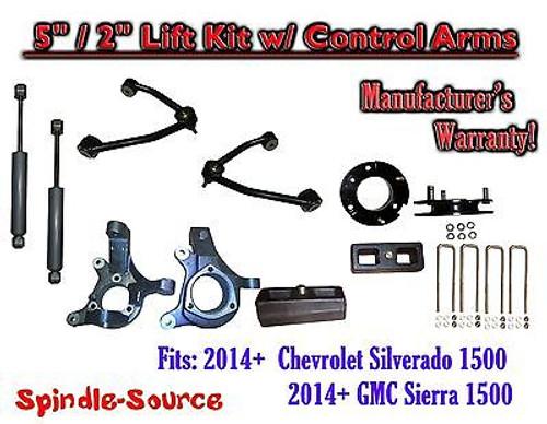 "2014+ Chevy Silverado GMC Sierra 1500 5"" / 2"" Spindle Lift Control Arms + SHOCKS"