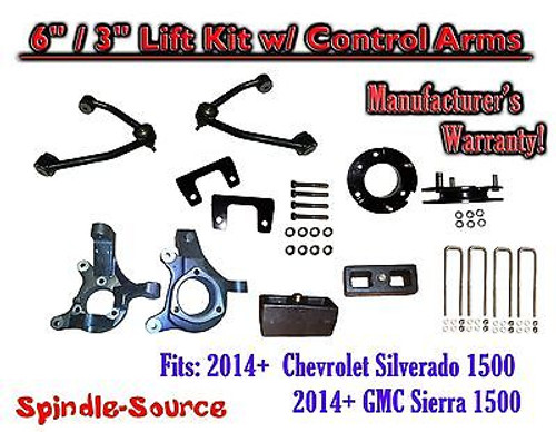 """2014+ Chevy Silverado GMC Sierra 1500 6"""" / 3"""" Spindle 2WD Lift KIT Control Arms"""