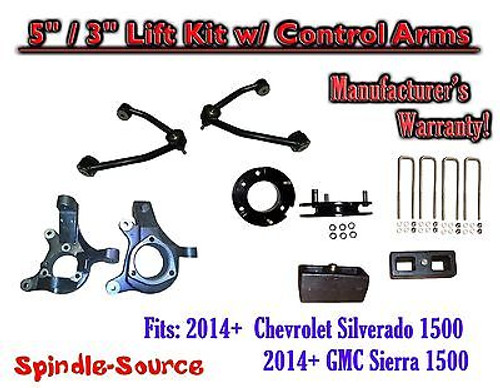 "2014+ Chevy Silverado GMC Sierra 1500 5"" / 3"" Spindle Lift KIT Control Arms"
