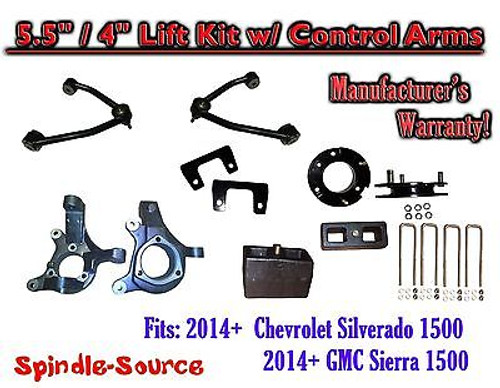 "2014+ Chevy Silverado GMC Sierra 1500 5.5"" / 4"" Spindle Lift KIT Control Arms"