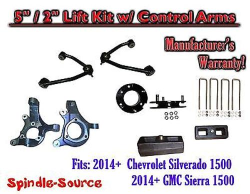 "2014+ Chevy Silverado GMC Sierra 1500 5"" / 2"" Spindle Lift KIT Control Arms"