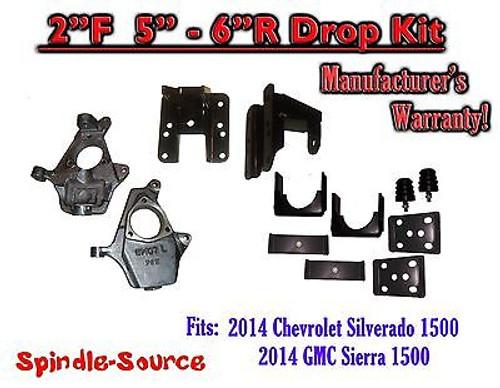"""2014-16 Chevy Silverado GMC Sierra 2/5"""" - 2/6"""" Adjustable Lowering Kit Spindle"""