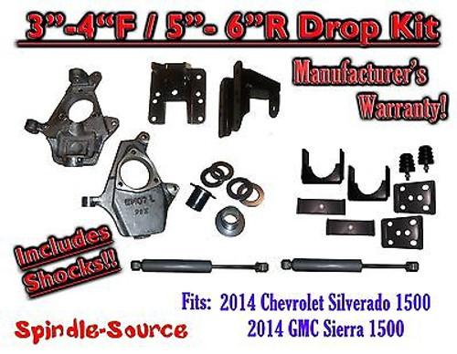 2014-16 Chevy Silverado GMC Sierra 3/5 - 4/6 Adjustable Lowering Kit + Rear Shocks