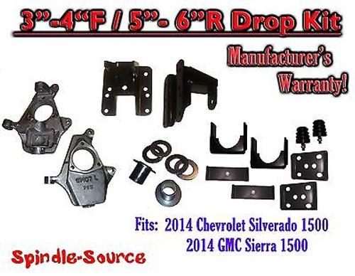 2014-16 Chevy Silverado GMC Sierra 3/5 - 4/6 Adjustable Lowering Kit Spindle Flip
