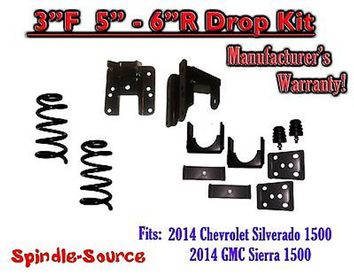 2014-16 Chevy Silverado GMC Sierra 3/5 - 3/6 Adjustable Lowering Kit Coils Hanger