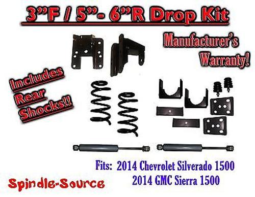 2014-16 Chevy Silverado GMC Sierra 3/5 - 3/6 Adjustable Lowering Kit + Rear Shocks