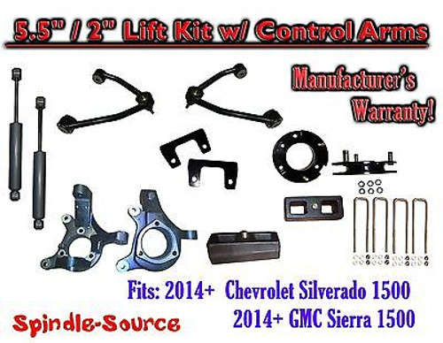 "2014+ Chevy Silverado GMC Sierra 5.5"" / 2"" Spindle Lift Control Arms + SHOCKS"
