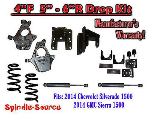 2014-16 Chevy Silverado GMC Sierra 4/5 - 4/6 Adjustable Lowering Kit + Rear Shocks