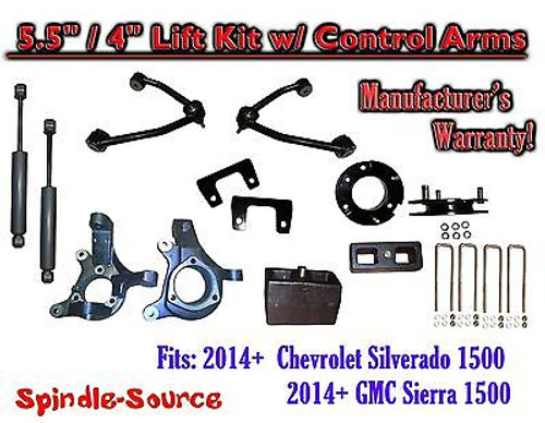 "2014+ Chevy Silverado GMC Sierra 5.5"" / 4"" Spindle Lift Control Arms + SHOCKS"