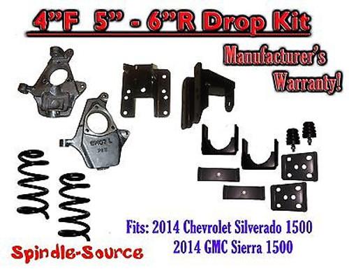 "2014-16 Chevy Silverado GMC Sierra 4/5"" - 4/6"" Adjustable Lowering Kit Coils Flip"