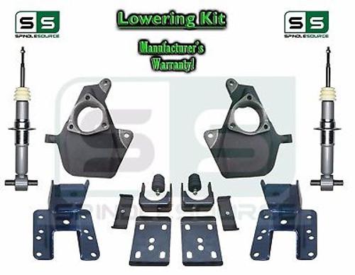 """16-18 Silverado Sierra 3"""" / 6"""" Drop Lowering KIT STAMPED / ALUM ARMS 3/6 STRUTS"""