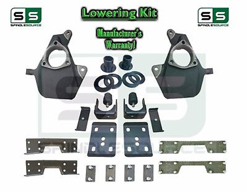 "16-18 Silverado Sierra 4"" / 7"" Drop Lowering KIT STAMPED / ALUM ARMS 4/7 + NOTCH"