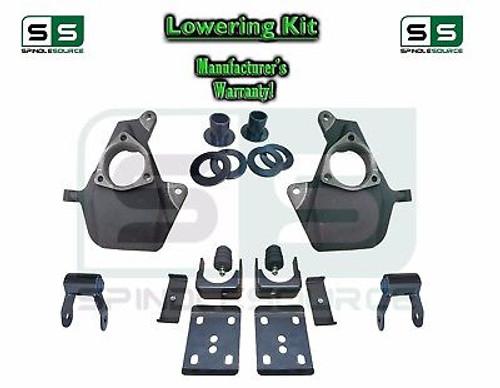 """16-18 Silverado Sierra 3"""" / 6"""" Drop Lowering KIT Shackles STAMPED / ALUM ARMS"""
