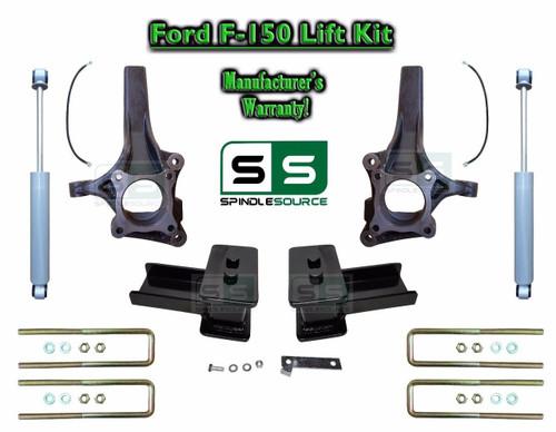 "2015+ Ford F-150 2WD 4.5"" / 5"" Lift Spindle Knuckle Blocks U-bolt Kit + SHOCKS"