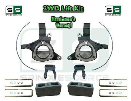 "2015+ Silverado Sierra 1500 2WD 5"" / 4"" Lift Spindle Kit Shackles STAMPED / ALUM"