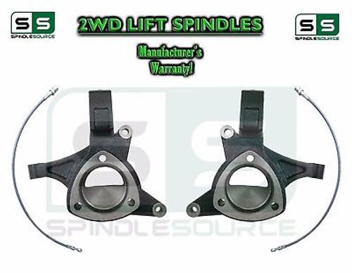 "2016 - 2018 Chevrolet Silverado 1500 2WD 5"" Lift Spindles + Brake Lines STAMPED / ALUM"