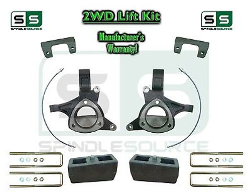 "2015+ Silverado Sierra 1500 2WD 6"" / 4"" Lift Spindles Kit STAMPED / ALUM ARMS"