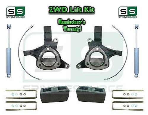 "2015+ Silverado Sierra 1500 2WD 5"" / 5"" Lift Spindle Kit STAMPED / ALUM + SHOCKS"