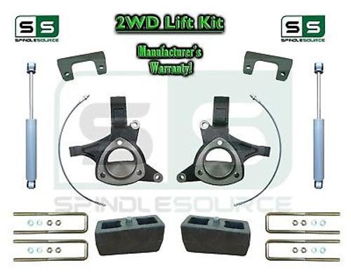 "2015+ Silverado Sierra 1500 2WD 6"" / 4"" Lift Spindle Kit STAMPED / ALUM + SHOCKS"