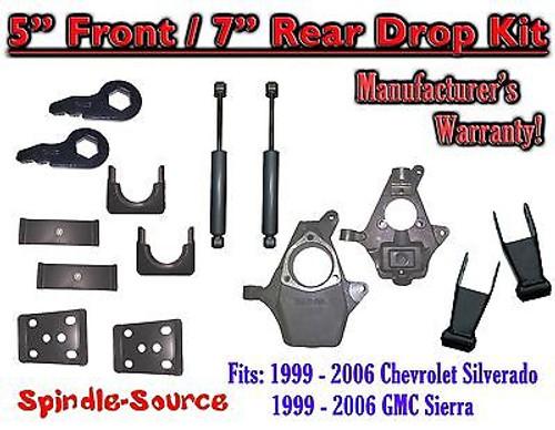 "5"" - 7"" Drop Kit 1999 - 2007 Chevy Chevrolet Silverado GMC Sierra 1500 + Shocks"