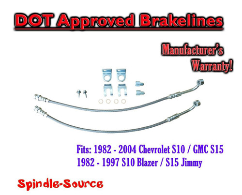 82-05 Chevy S-10 GMC S-15 Sonoma Blazer Jimmy Front EXTENDED EXT BRAKE LINES