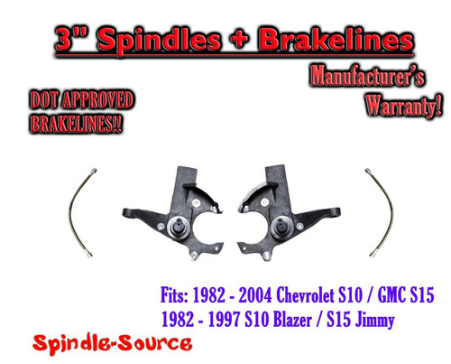 """82-05 Chevy S-10 GMC S-15 Sonoma Blazer Jimmy 3"""" Lift Spindles + EXT BRAKE LINES"""
