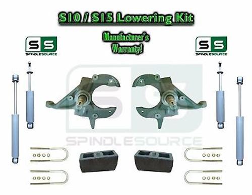 "82-05 Chevy S-10 S10 GMC S15 Sonoma Blazer Jimmy 2"" / 4"" Drop Spindle KIT SHOCKS"