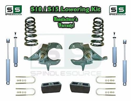 "82-05 Chevy S-10 S10 GMC S15 Sonoma Jimmy 3"" / 4"" Drop Spindles KIT V6 SHOCKS"