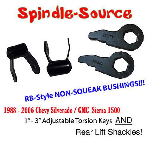 "88 - 06 3"" Chevy Silverado GMC Sierra 1500 Torsion Keys AND 1.75"" Rear Shackles"