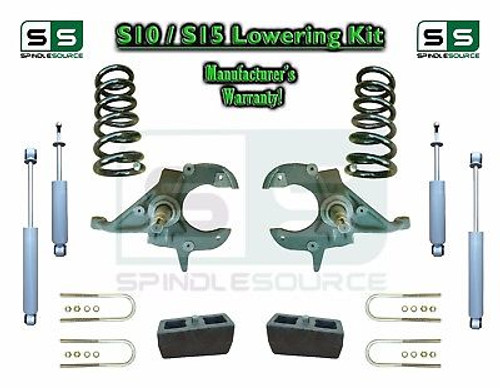 """82-05 Chevy S-10 S10 GMC S15 Sonoma Jimmy 4"""" / 4"""" Drop Spindles KIT 4 Cyl SHOCKS"""