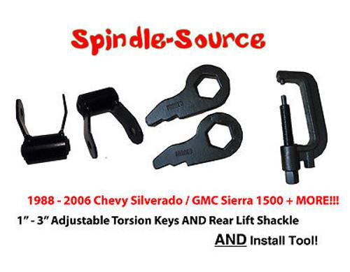 "88 - 06 Chevy GMC 1500 3"" Torsion Keys + 1.75"" Rear Shackles + INSTALL TOOL"