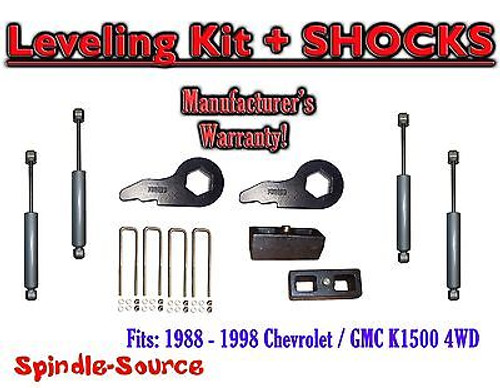 "88 - 98 Chevy GMC 1500 Torsion Level 3"" FORGED Torsion KEYS + 2"" Blocks + SHOCKS"