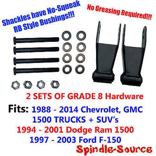88 - 2014 DROP Shackles Chevy Silverado GMC Sierra 1500 RB Bushing 2x GRADE 8