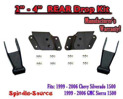 """99 - 06 Chevy GMC Silverado Sierra 1500 2"""" - 4"""" REAR Drop Kit Hangers Shackles"""