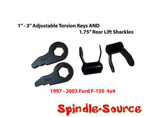 "97 - 03 Ford F-150 FRONT Torsion Lift Keys Leveling + 1.75"" REAR Lift Shackles"