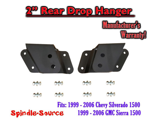 """99 - 06 Chevrolet GMC Silverado Sierra 1500 2"""" Rear Drop Lowering Hanger STEEL"""