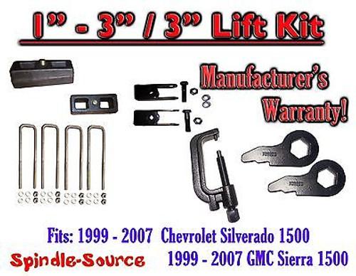 "99 - 06 CHEVY GMC 1500 Silverado Sierra 1 - 3"" Keys + TOOL + Ext + 3"" Rear Block"