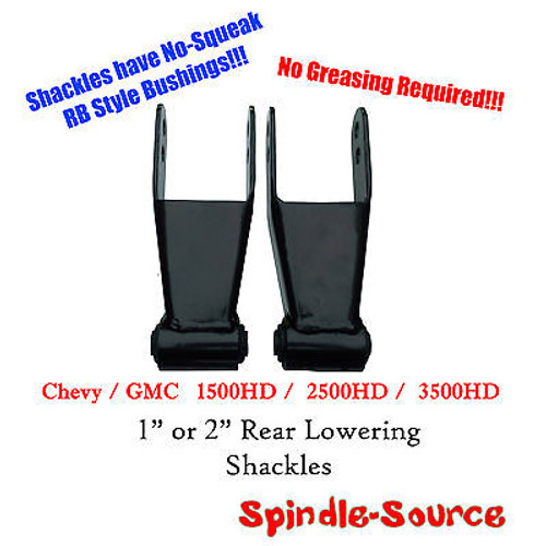 "99 - 07 Chevy Silverado GMC Sierra 1500 HD 2500HD 3500HD 1"" 2"" Lowering Shackles"