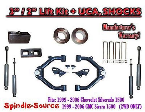 "99-07 Chevy Silverado GMC Sierra 1500 2WD LEVELING KIT 3"" / 2"" + SHOCKS + UCA"