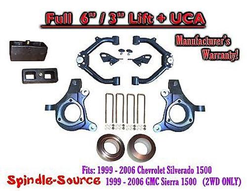 "99-07 Chevy Silverado GMC Sierra 1500 FULL Spindle 6"" Lift Kit 6"" / 3"" NBS + UCA"