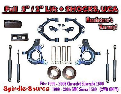 "99-07 Chevy Silverado GMC Sierra 1500 Spindle 5"" Lift Kit 5"" / 2"" + SHOCKS + UCA"