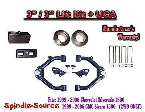 "99-07 Chevy Silverado GMC Sierra 1500 2WD LEVELING KIT 3"" / 3"" Coil Spacer + UCA"