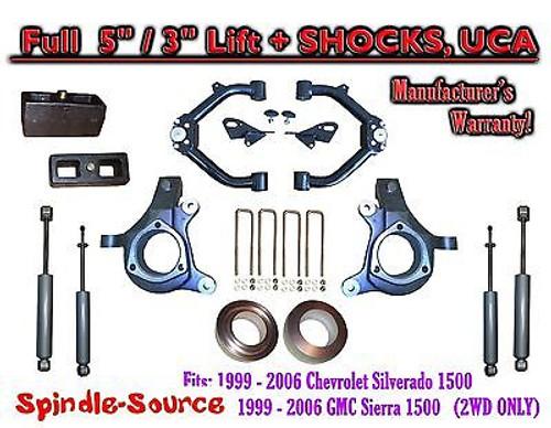 "99-07 Chevy Silverado GMC Sierra 1500 Spindle 5"" Lift Kit 5"" / 3"" + SHOCKS + UCA"