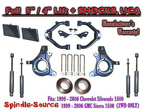 "99-07 Chevy Silverado GMC Sierra 1500 Spindle Lift Kit 5"" / 4"" Off+ SHOCKS + UCA"