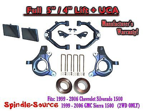 "99-07 Chevy Silverado GMC Sierra 1500 Spindle Lift Kit 5"" / 4"" NBS Offset + UCA"