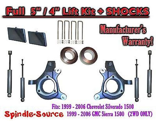"99-07 Chevy Silverado GMC Sierra 1500 Spindle Lift Kit 5"" / 4"" Offset + SHOCKS"